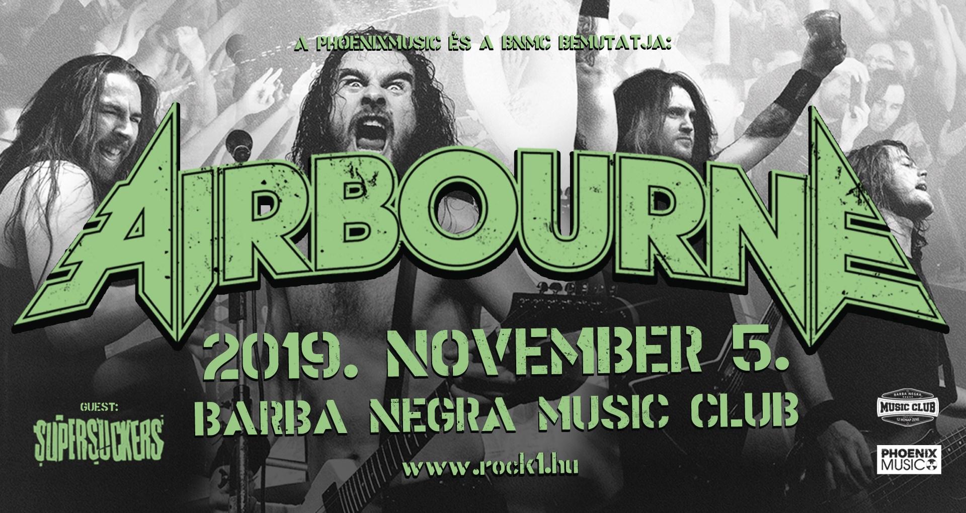 AIRBOURNE, Supersuckers, Barba Negra, Budapest, 5.11.2019.