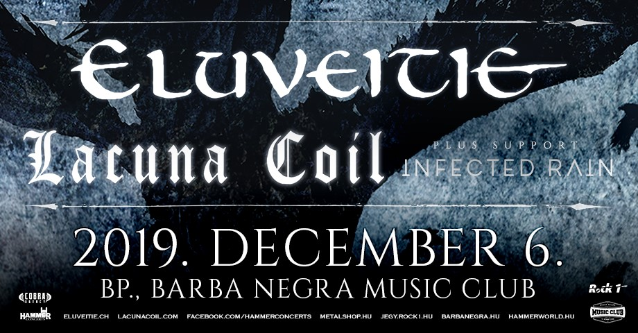ELUVEITIE, LACUNA COIL, Infected Rain, Barba Negra MC, Budapest, 6.12.2019.