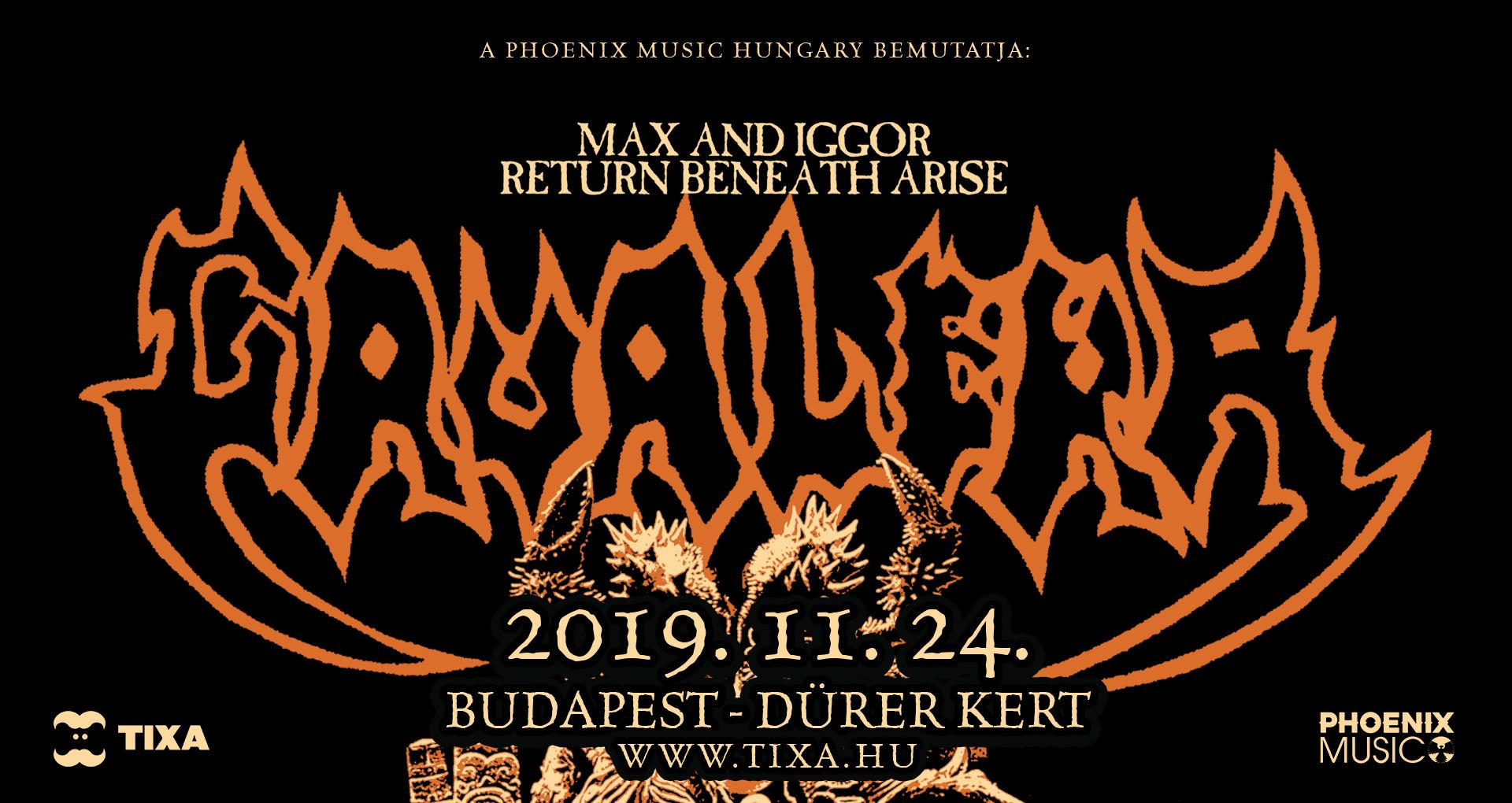 MAX AND IGGOR CAVALERA RETURN TO BENEATH AND ARISE, Dürer Kert, Budapest, 24.11.2019.