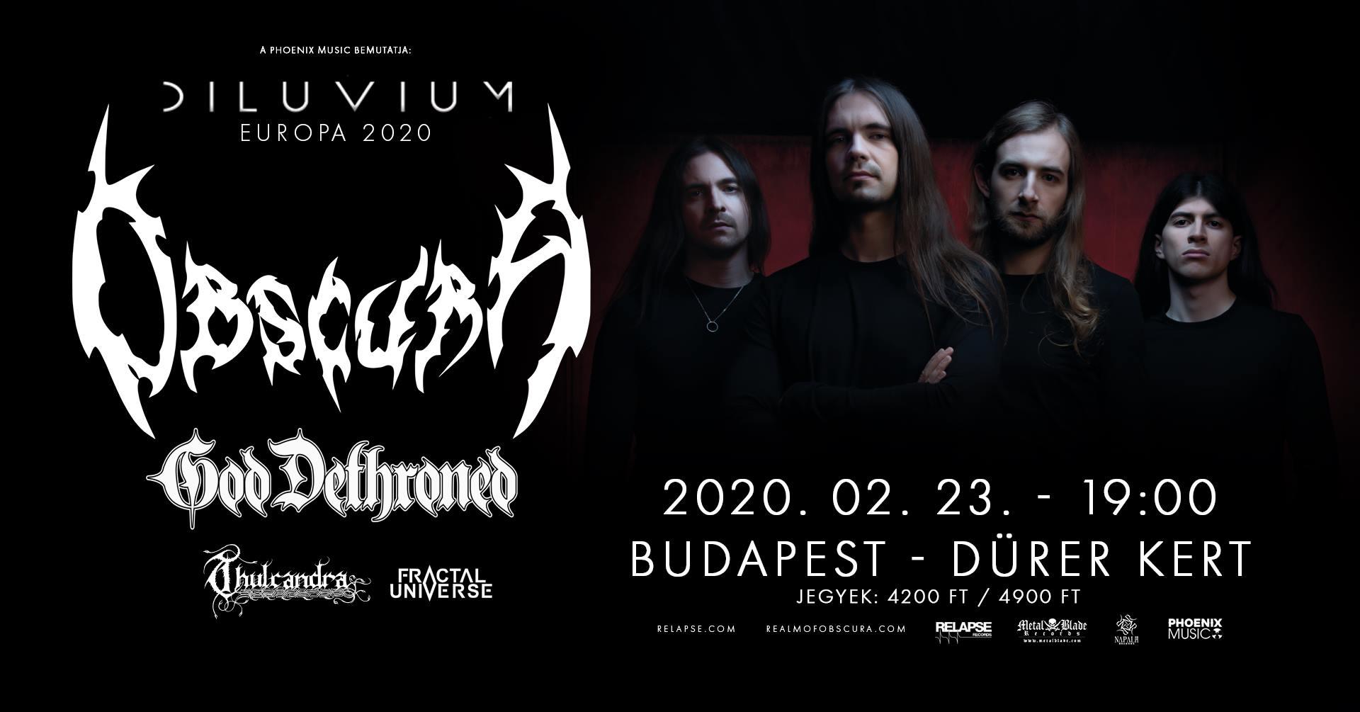 OBSCURA, GOD DETHRONED, THULCANDRA, FRACTAL UNIVERSE, Dürer Kert, Budapest, 23.02.2020.