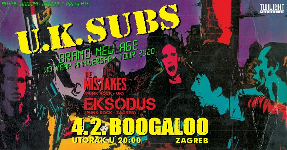 UK SUBS, EKSODUS, THE MISTAKES, Boogaloo Zagreb, 4.02.2020.