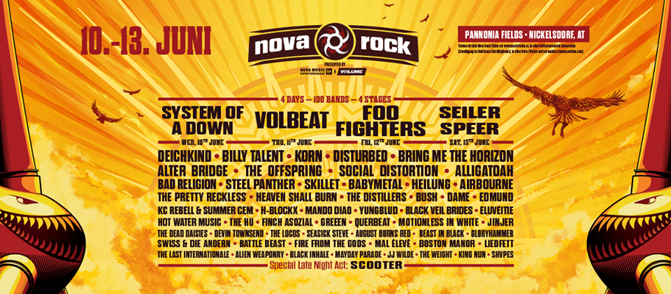 NOVA ROCK FESTIVAL 2020, Nickelsdorf, Austria, 10-13.06.2020.